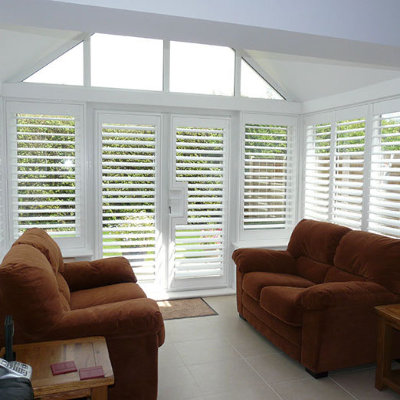 Conservatory shutters white
