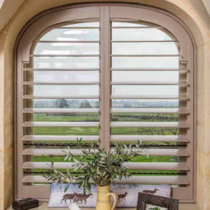 Just Shutters Virginia Water installation in large dining room window