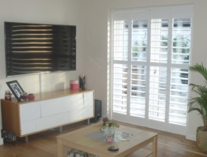 Just Shutters Scarborough shutters installed in french doors